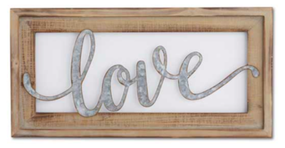 20 inch wood framed tin cutout wall sign love