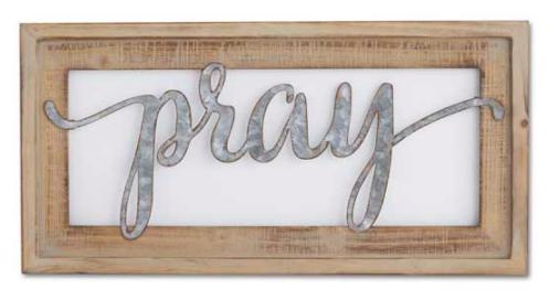 20 inch wood framed tin cutout wall sign pray