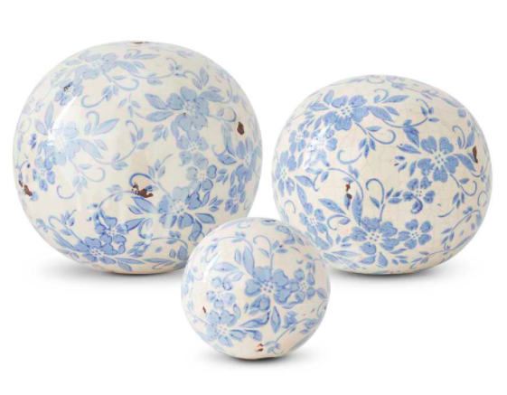 Vintage blue and white ball medium