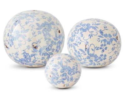 Vintage blue and white ball medium