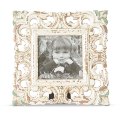 Square whitewashed carved photo frame