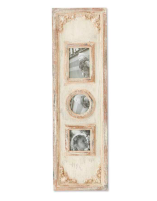 40 inch antiqued triple photo frame