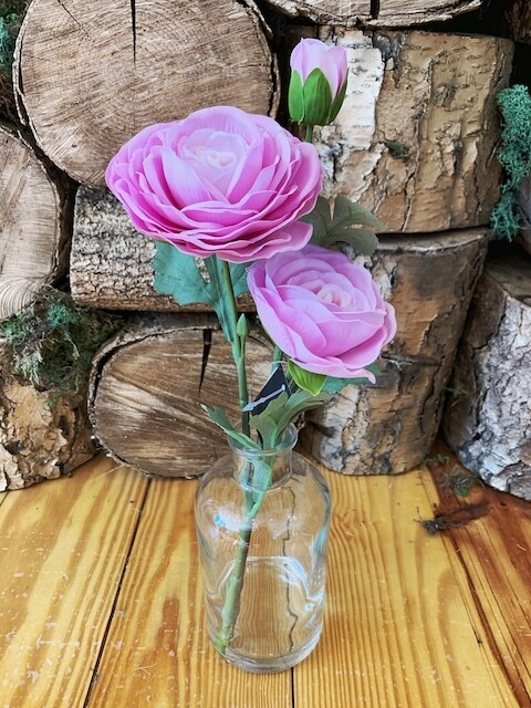 14 inch real touch ranunculus in glass bottle pink