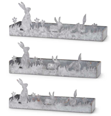 Potting tray with bunny cutout large