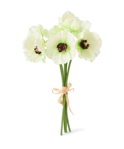 11 inch real touch poppy bouquet white