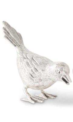 Antiqued silver song bird