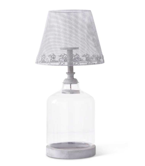 32 inch metal mesh and glass lamp candleholder