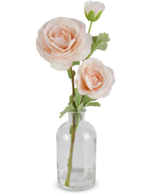 14 inch real touch ranunculus in glass bottle peach