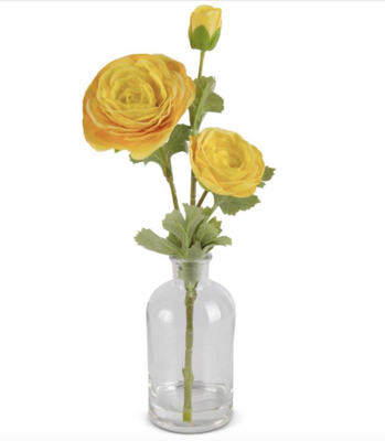 14 inch real touch ranunculus in glass bottle yellow