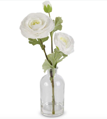 14 inch real touch ranunculus in glass bottle white