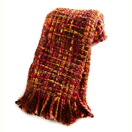 Basket Weave Throw - Cranberry