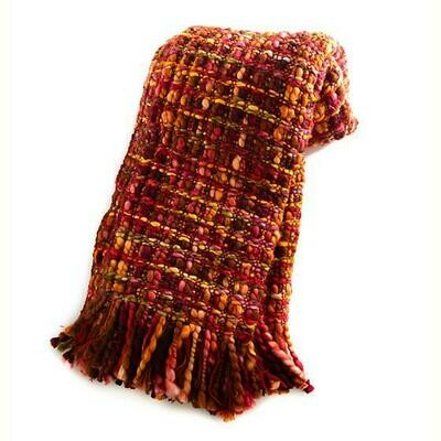 Basket weave throw cranberry