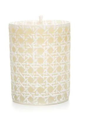 Rattan pillar candle 4 inch white