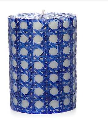 Rattan pillar candle 4 inch navy