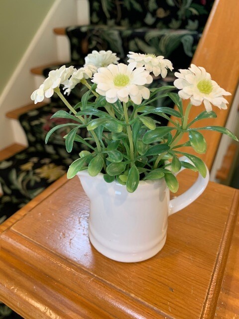 5 inch flowers in ceramic pitcher white