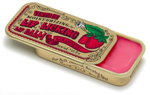 Lip licking strawberry lip balm