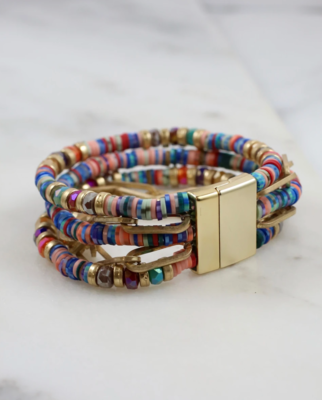 Baxton multi beaded magnetic bracelet