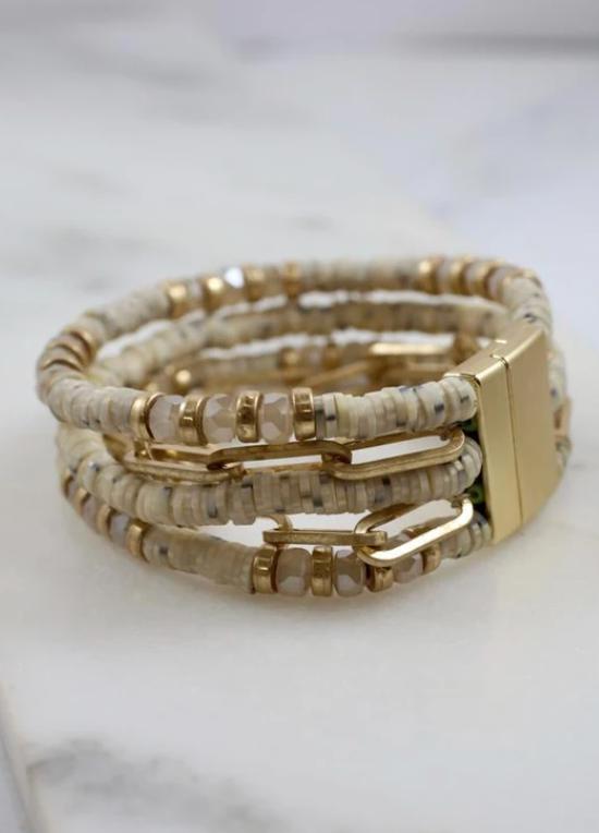 Baxton natural beaded magnetic bracelet