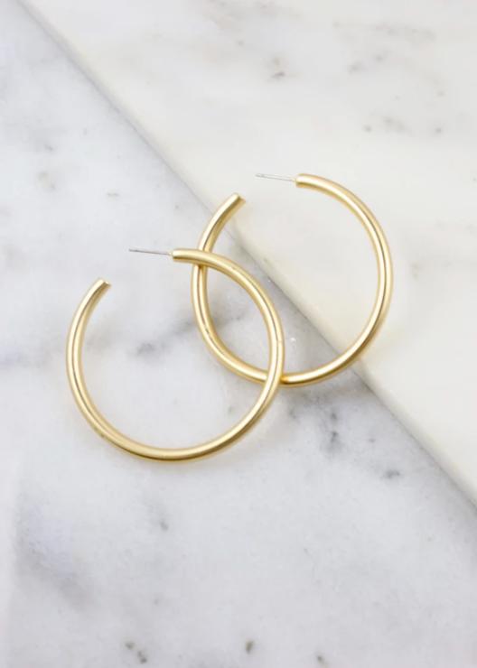 Arden gold satin metal post hoop