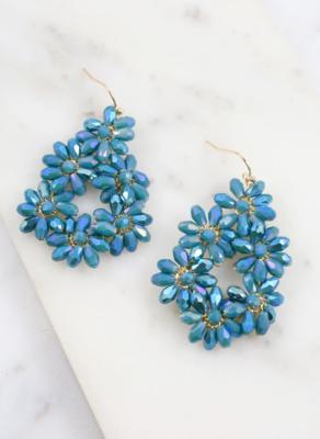 Destiny teal flower fish hook earrings