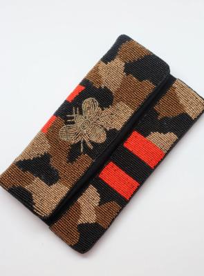 Bensen beaded leopard print bee crossbody red