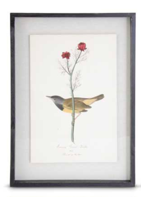 Black wood framed yellow bird with red poppy print