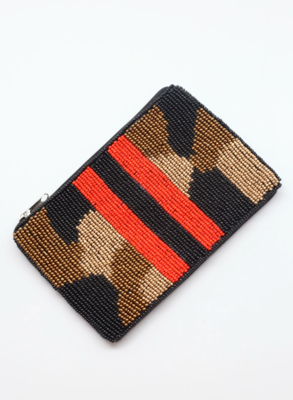 Serena camo stripe coin purse red
