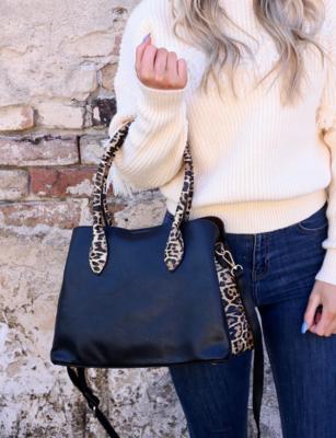 Baddeley black leopard print tote with wallet