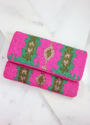Danbury hot pink patterned beaded bag