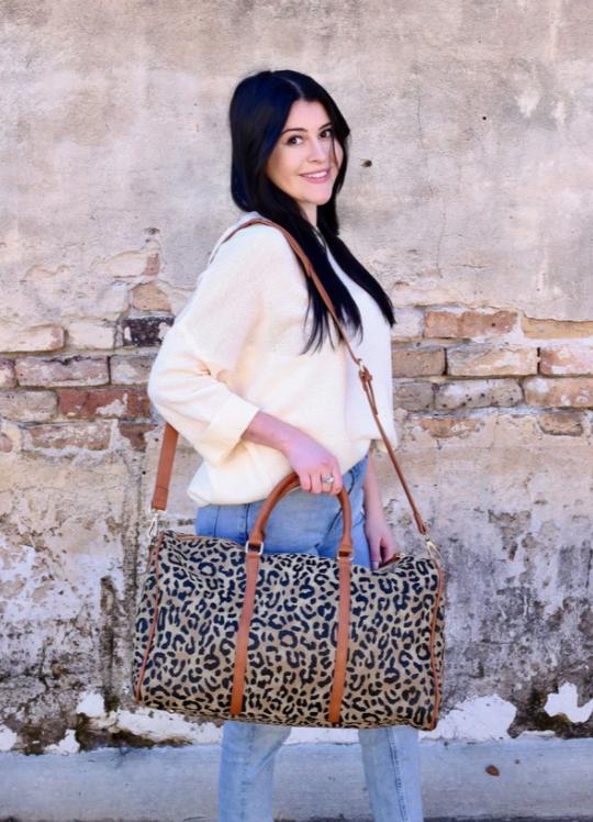 Voorhies leopard duffel bag