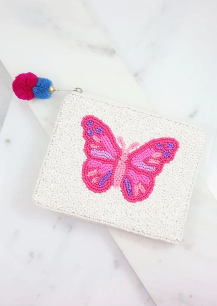 McDonald pink butterfly beaded pouch