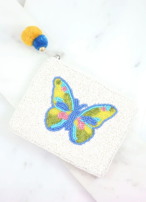 McDonald blue butterfly beaded pouch