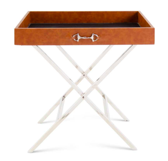 32 inch tan leather side table with horse bit