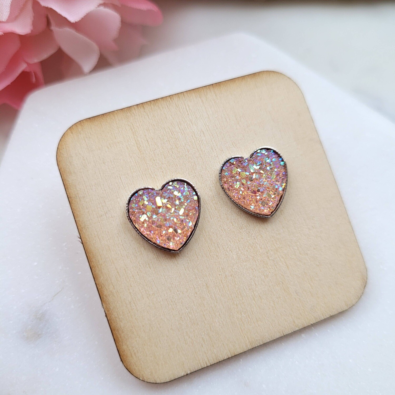 Heart druzy stud earrings light pink