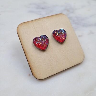 Heart druzy stud earrings red