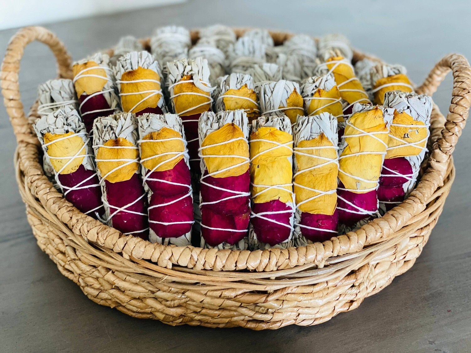 White sage with dried rose petals