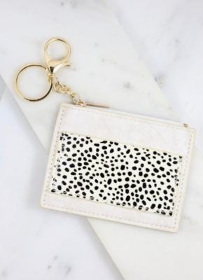 Melly black/white animal print wallet keychain