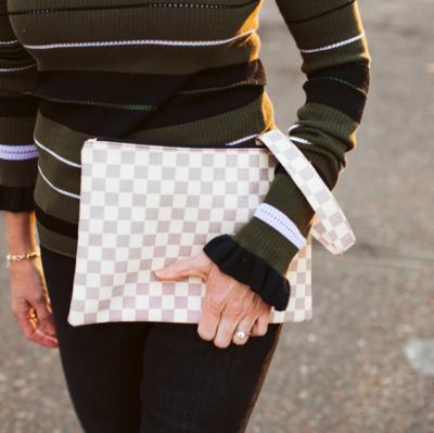 Classic clutch wristlet cream checkered