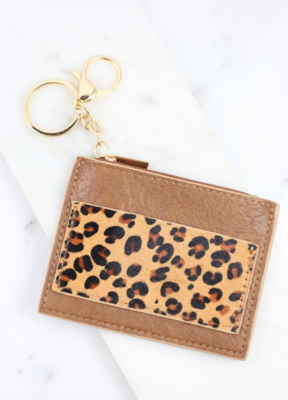 Melly brown animal print wallet keychain