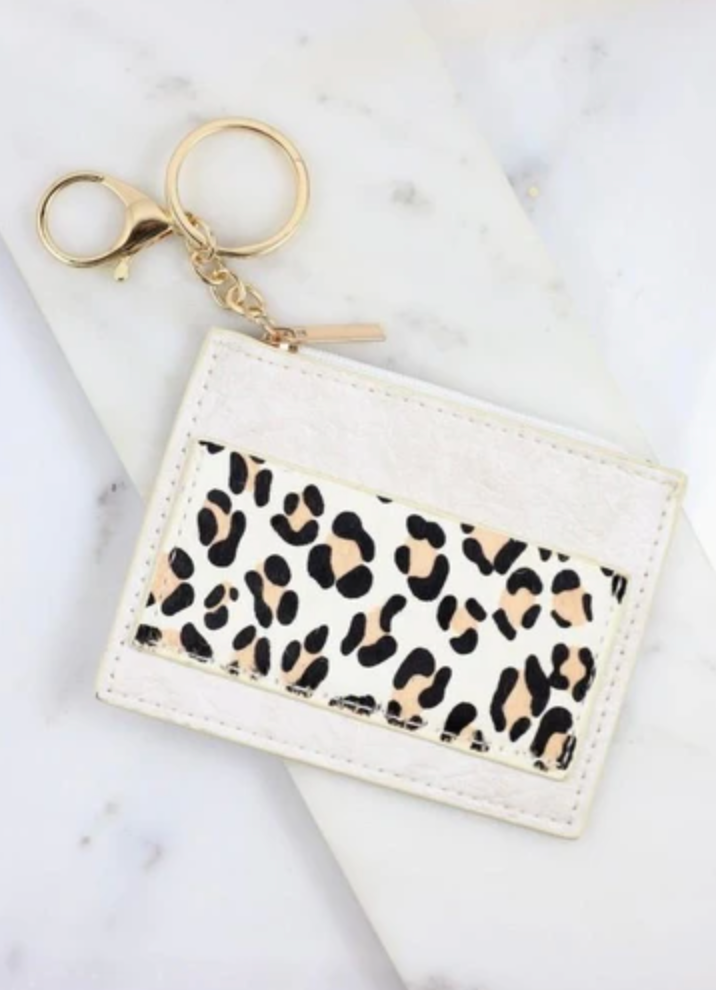 Melly ivory animal print wallet keychain