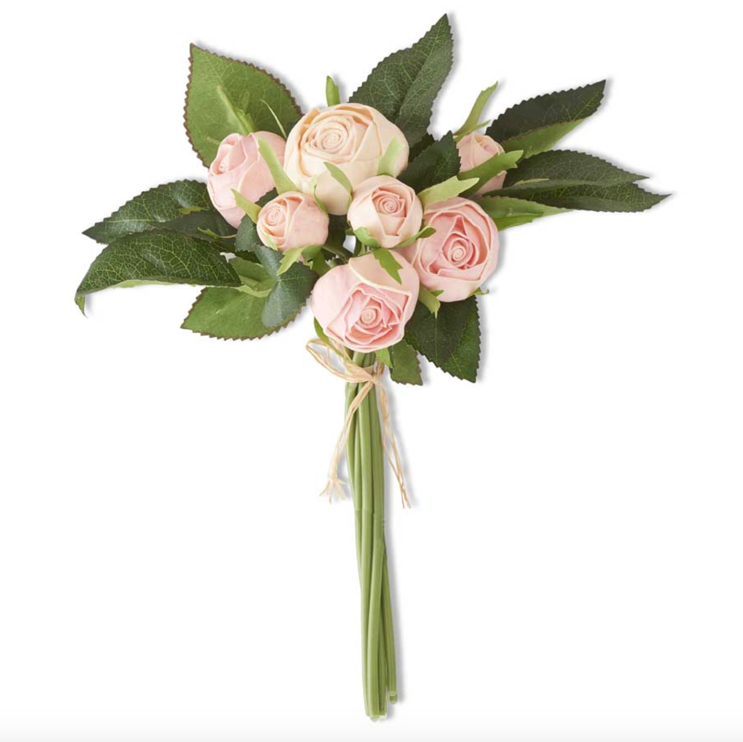 10 inch pink real touch cabbage rose bundle