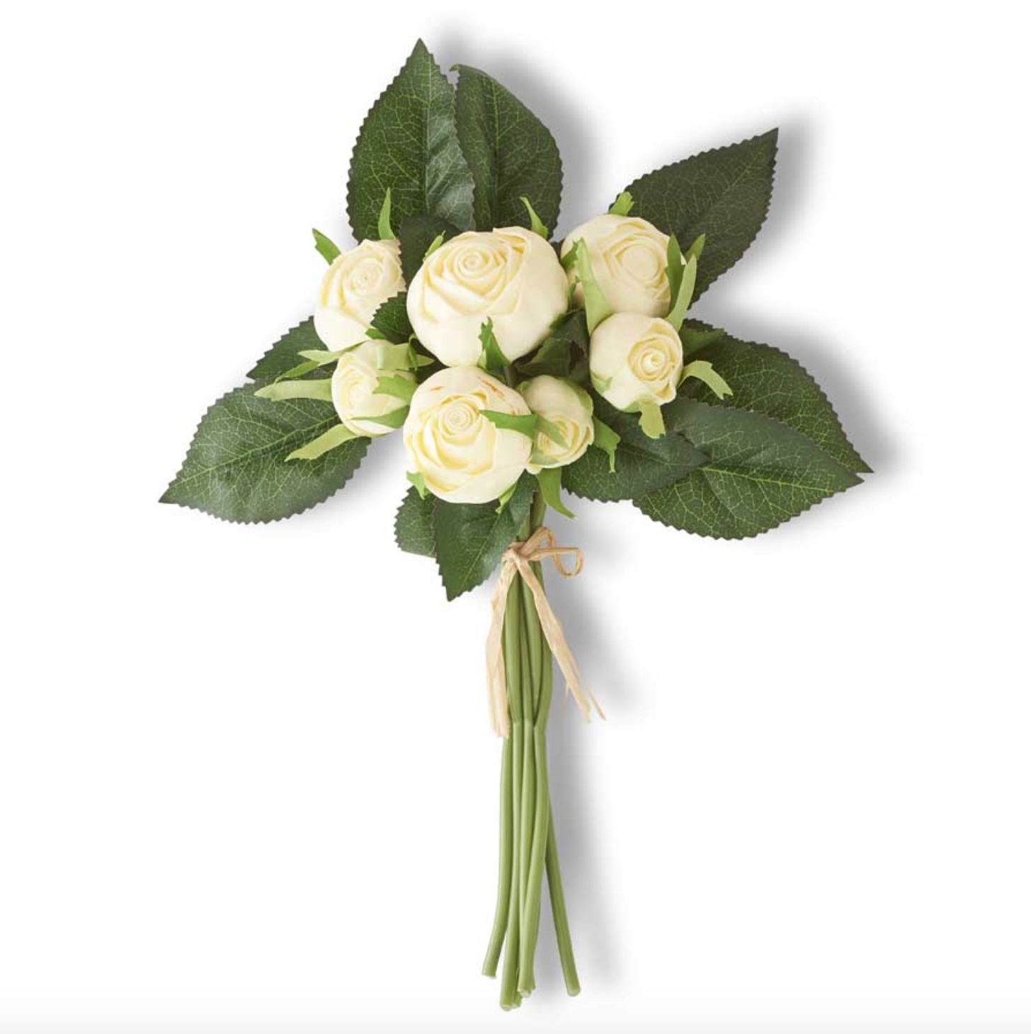 10 inch white real touch cabbage rose bundle