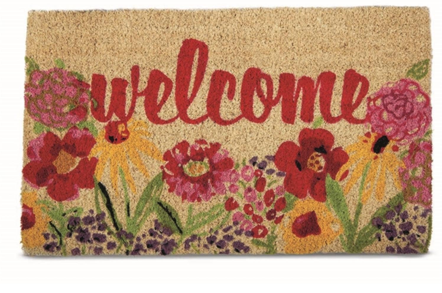 Coir mat welcome fresh flowers