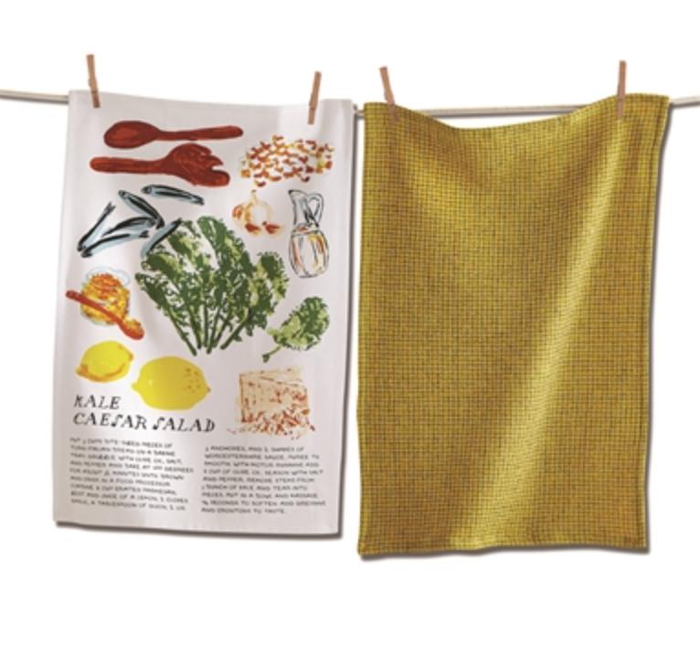 Salad dish towel set kale caesar