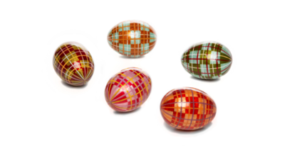 Highland tartan capiz eggs set of 5