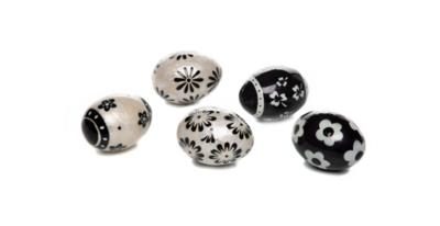 Black & white floral capiz eggs set of 5