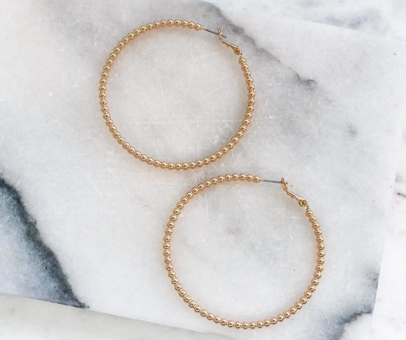 Classic gold beaded hoop earrings