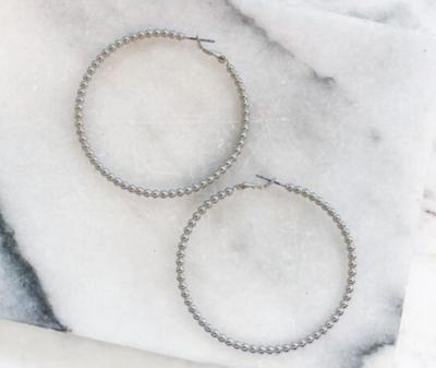 Classic silver beaded hoop earrings