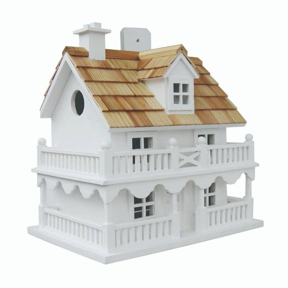Bird house novelty cottage white