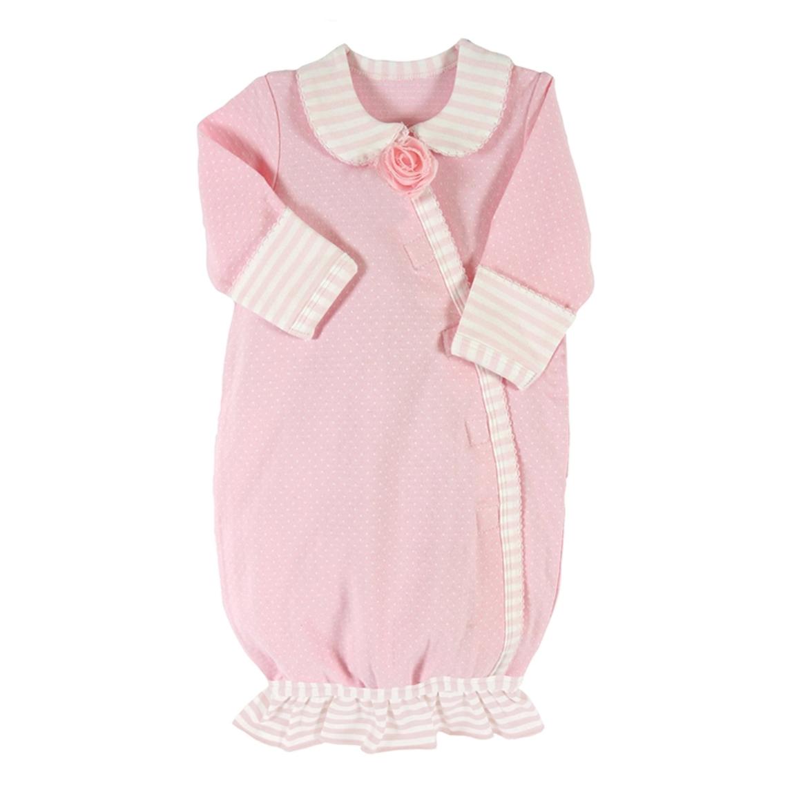 Preemie stripey gown light pink